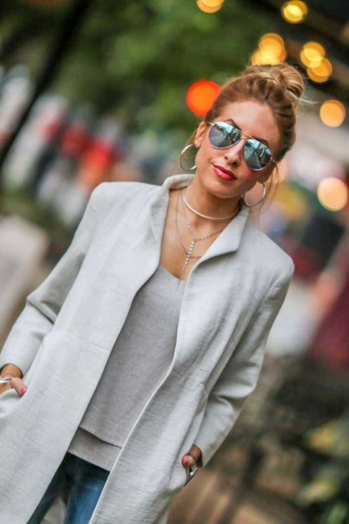neutral fashion Eileen Fisher jacket